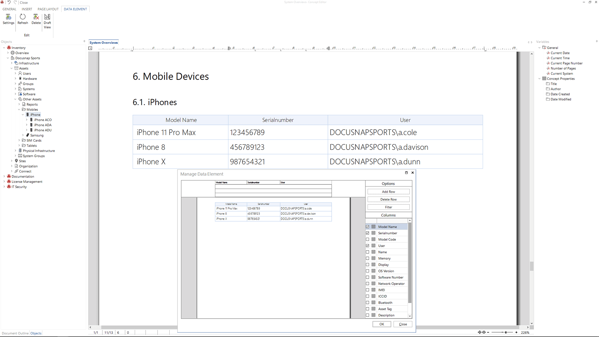 Screenshot: Embedding IT Asset in IT Concepts