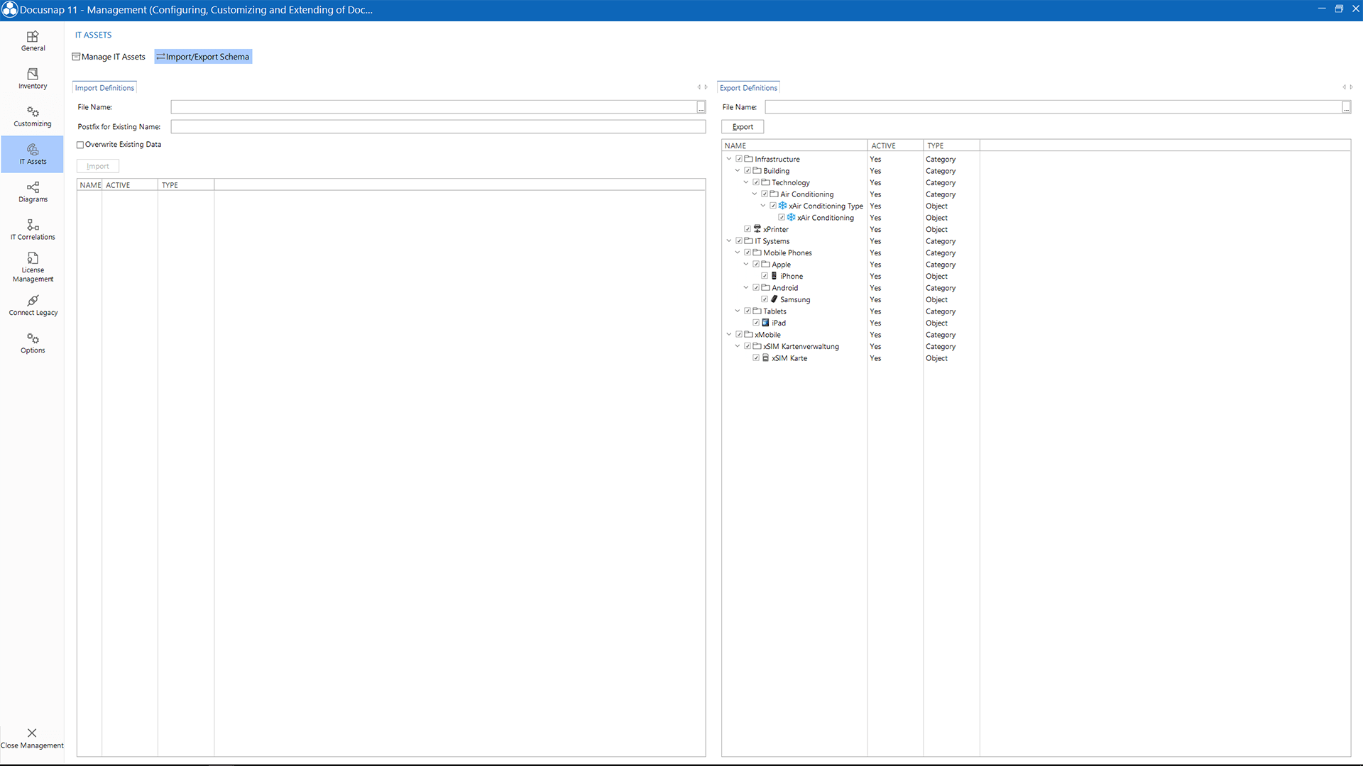 Screenshot: Exporting IT Assets