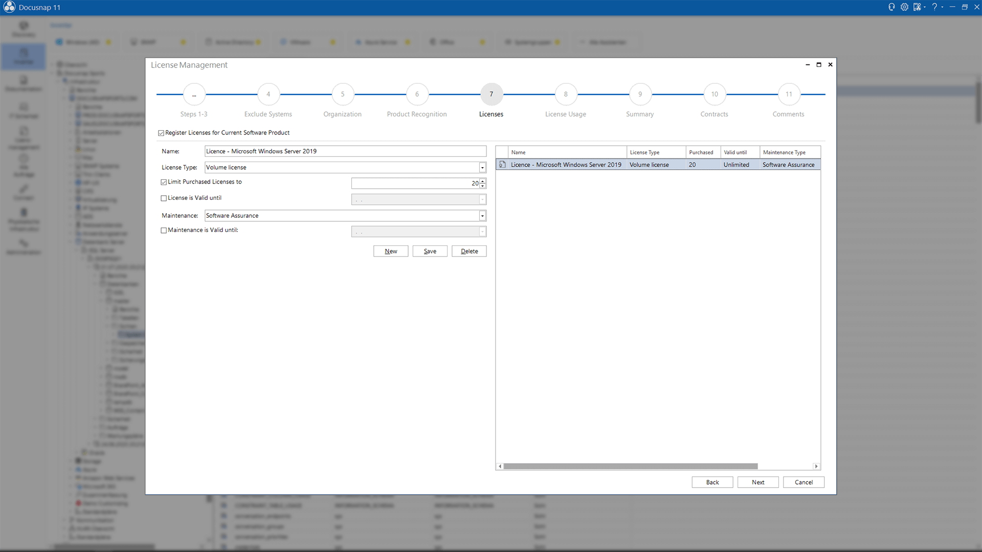 Screenshot: Wizard for entering and managing licenses in the License Management module
