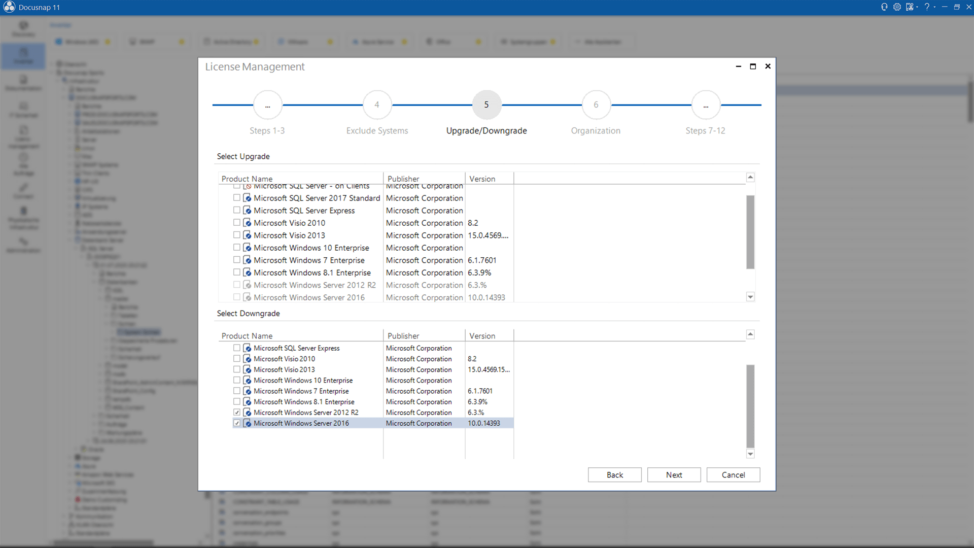 Screenshot: License Management Upgrade Downgrade Path