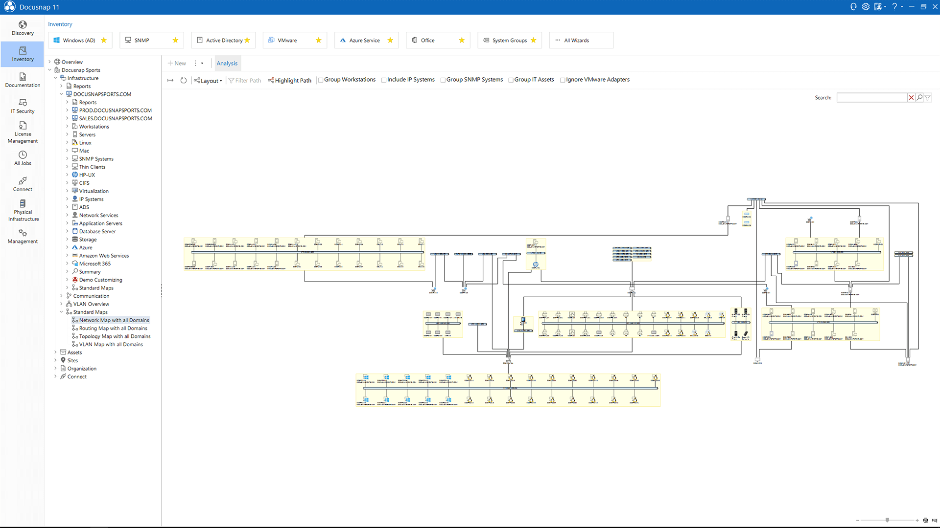 Screenshot: Layer 3 network map generated automatically by Docusnap