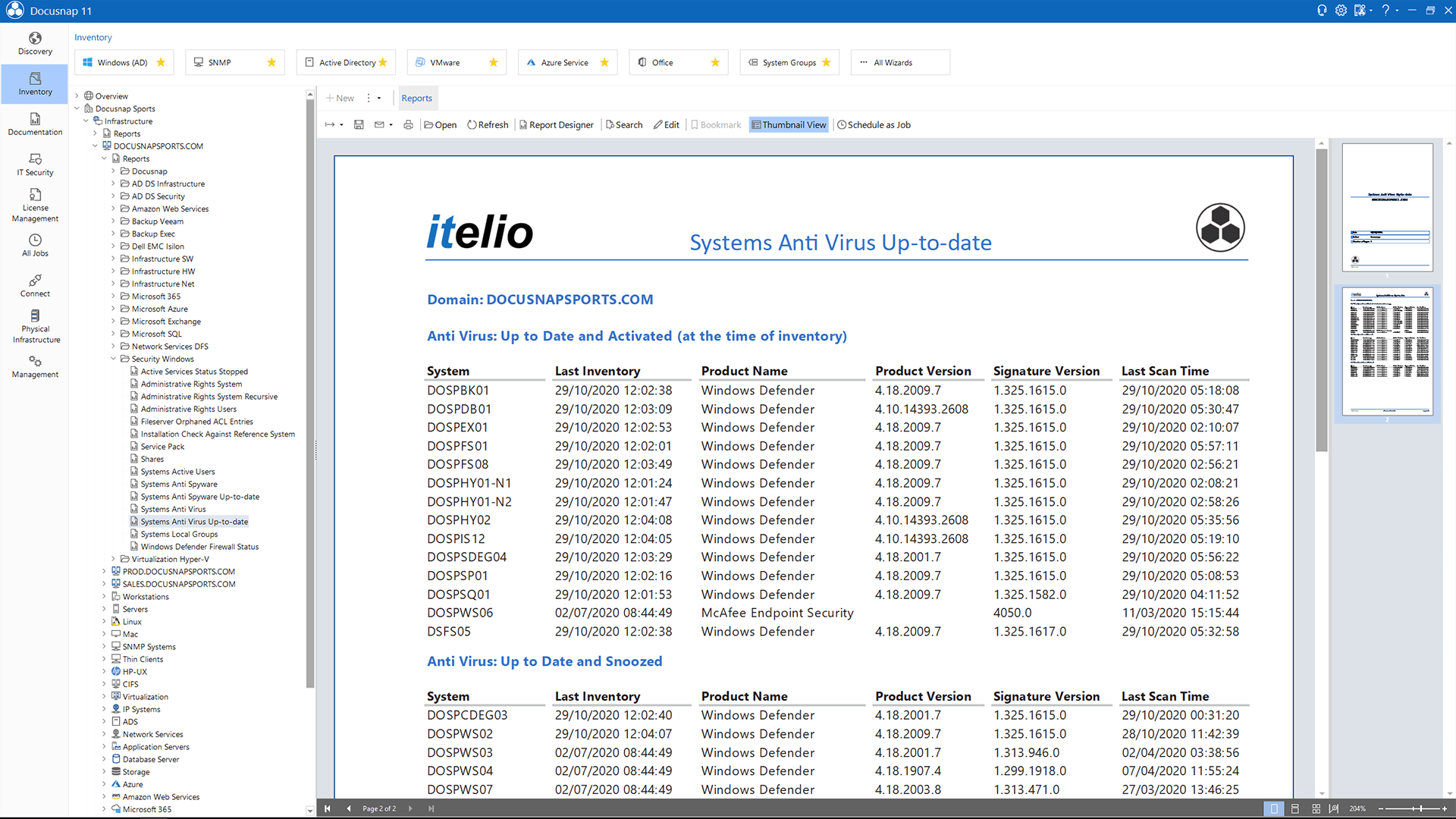 Screenshot: Report listing all virus scanners installed in the network, their status, and their patch revision number