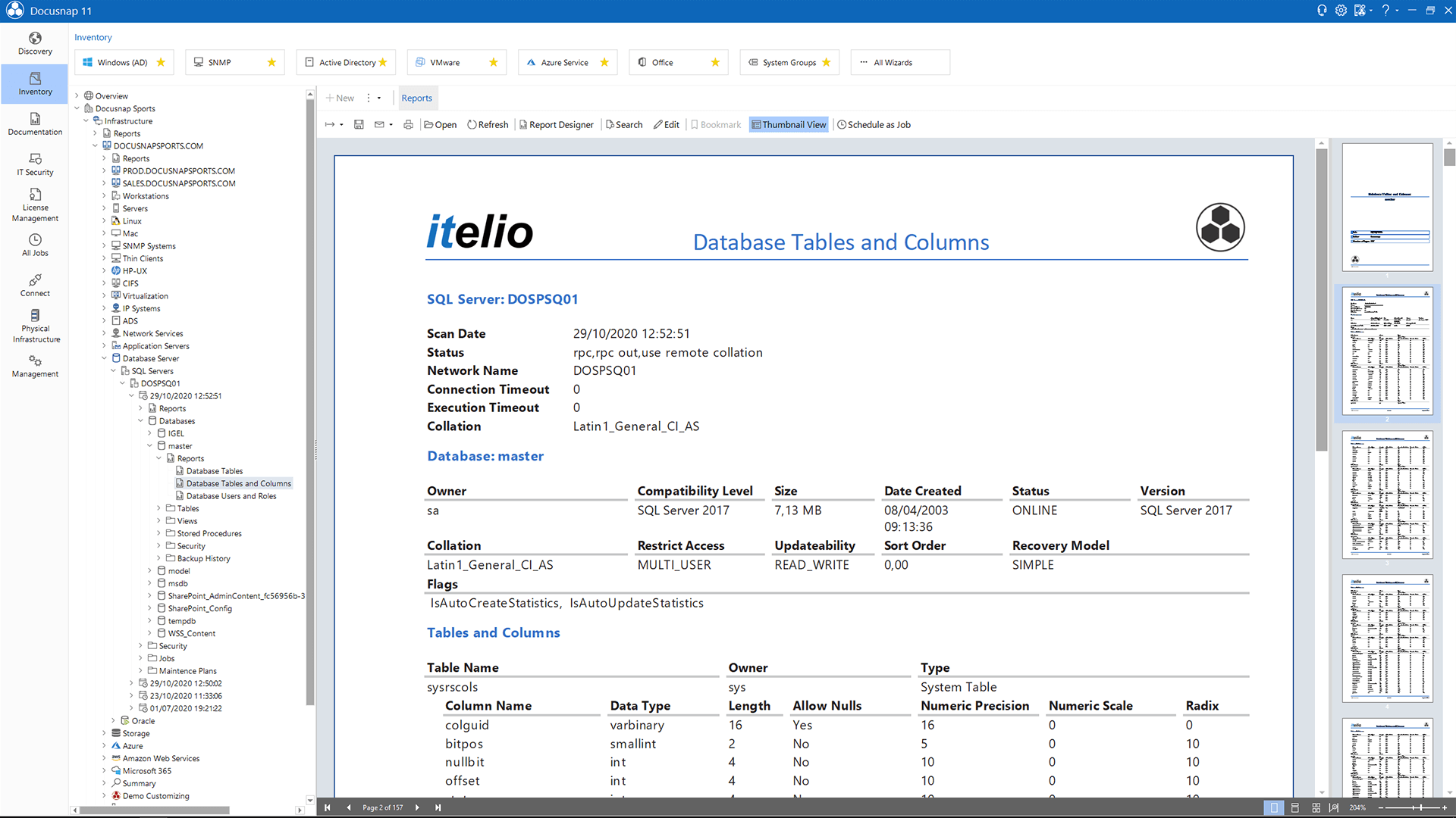 Screenshot: Report Database Details