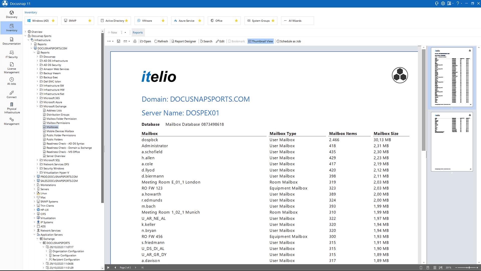 Screenshot: Create Exchange Server Plans