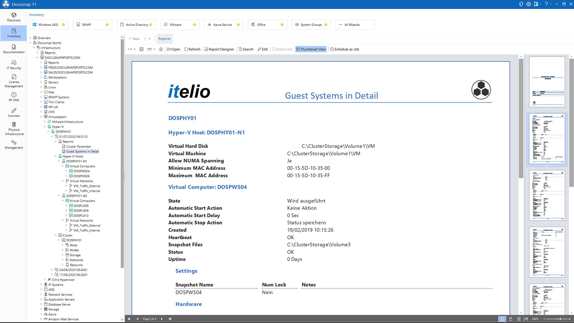Screenshot: Report Hyper-V Overview