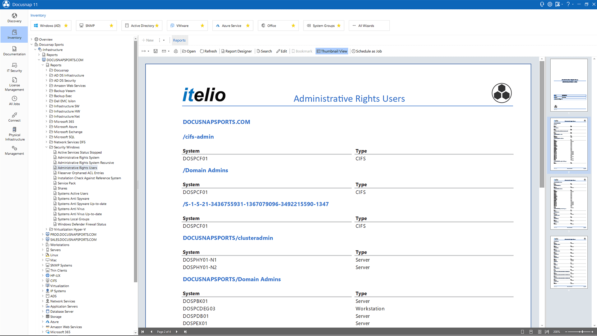 Screenshot: List of all users that have local administrator rights on particular systems