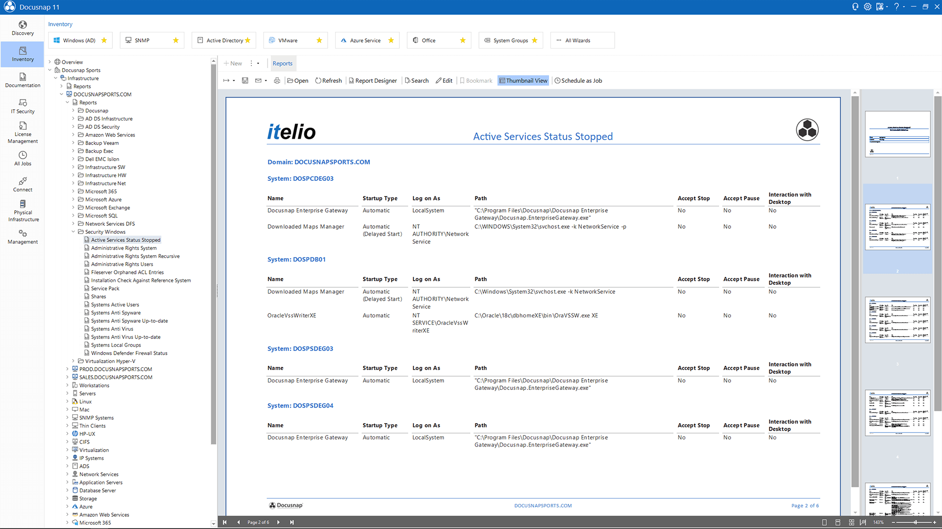 Screenshot: Report Active Services Status Stopped