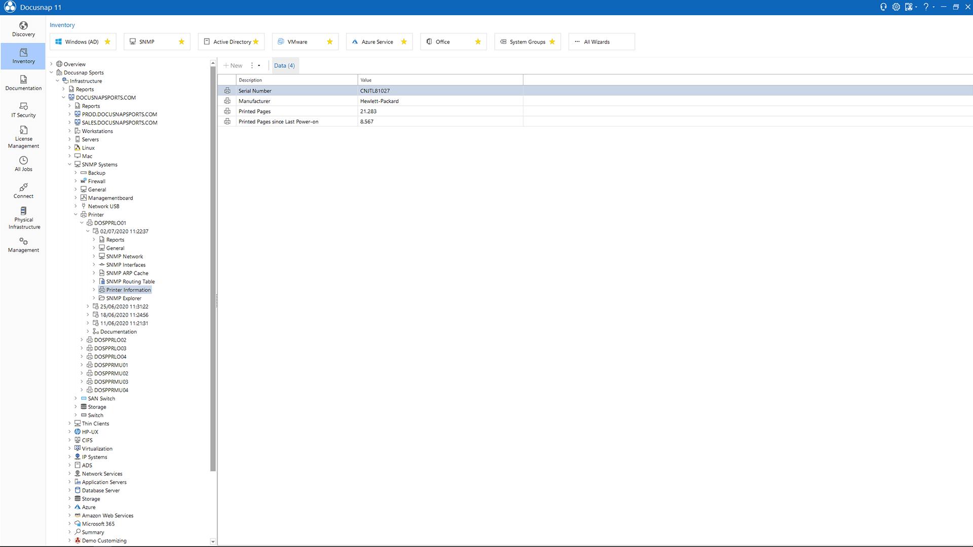 Screenshot: SNMP Toner Usage