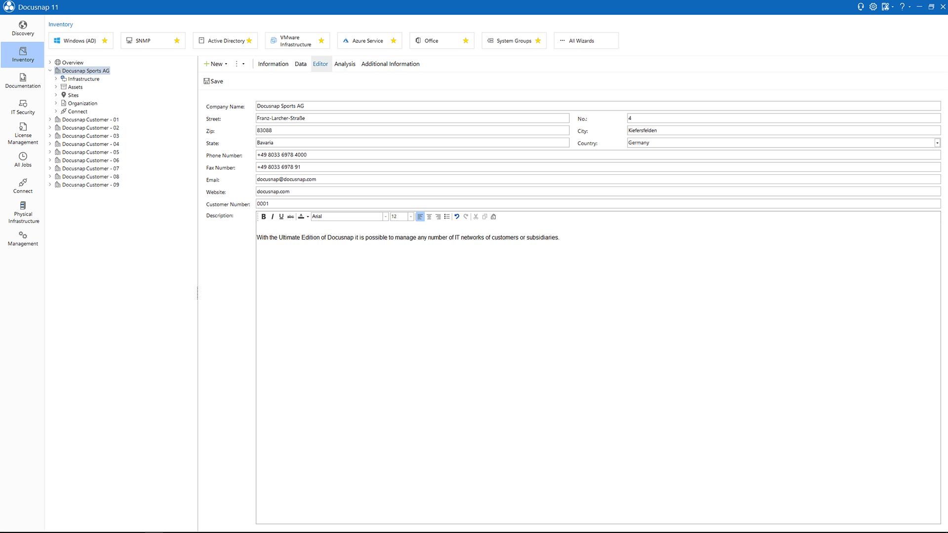 Screenshot: Multi-tenancy of Docusnap