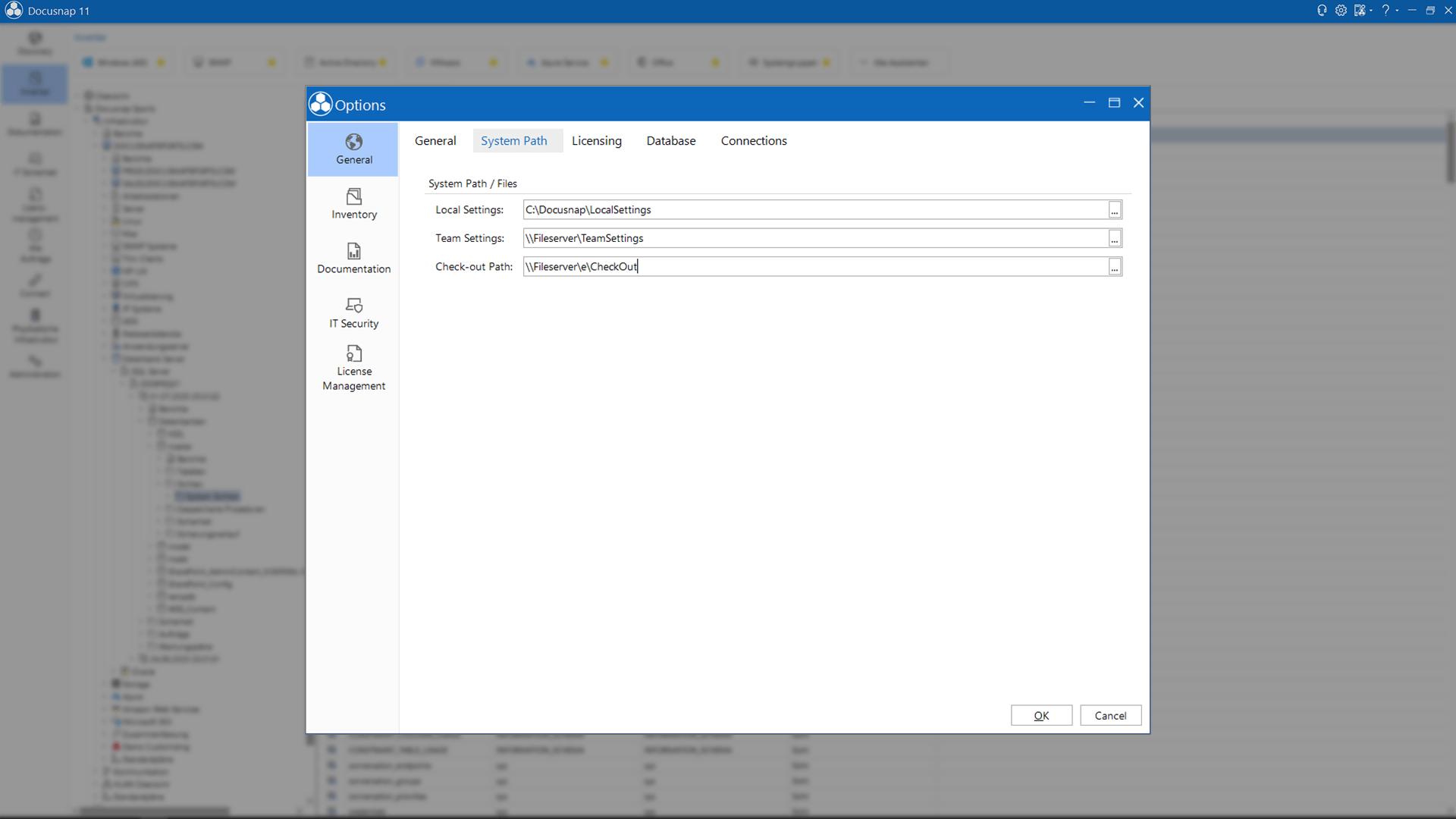 Screenshot: Team Settings in Docusnap