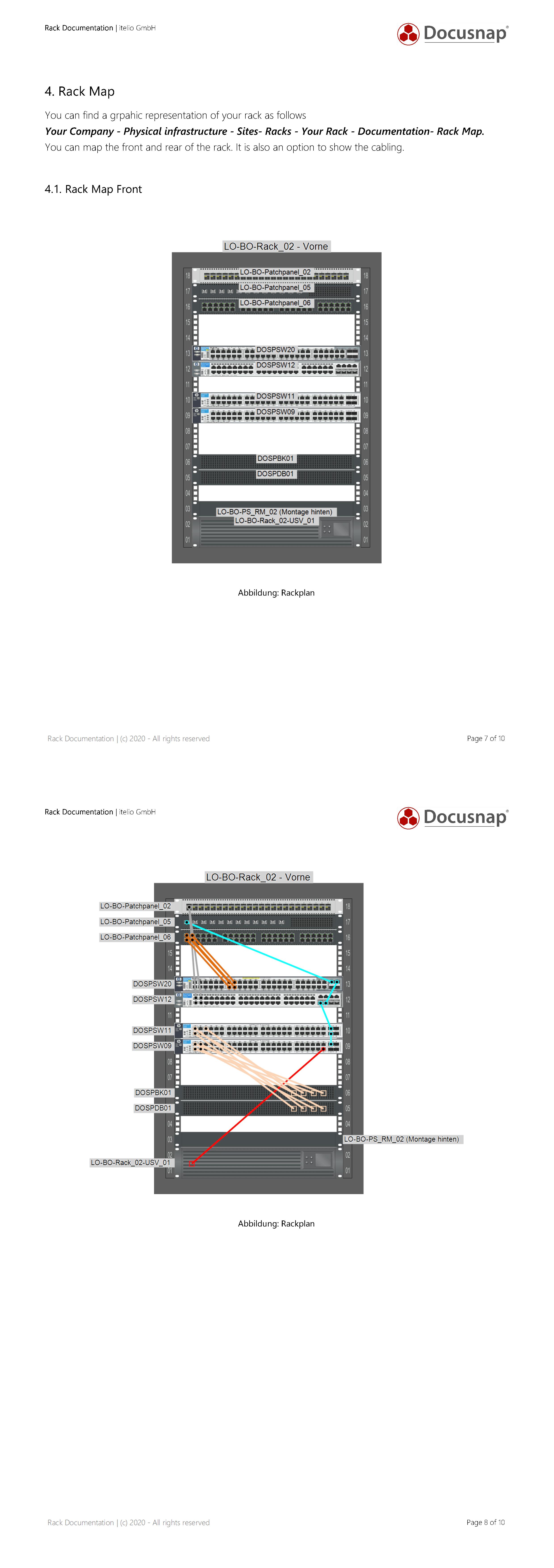 Screenshot: Documentation of a rack