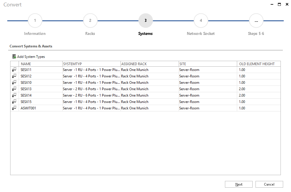 Screenshot: Infrastructure Import Wizard