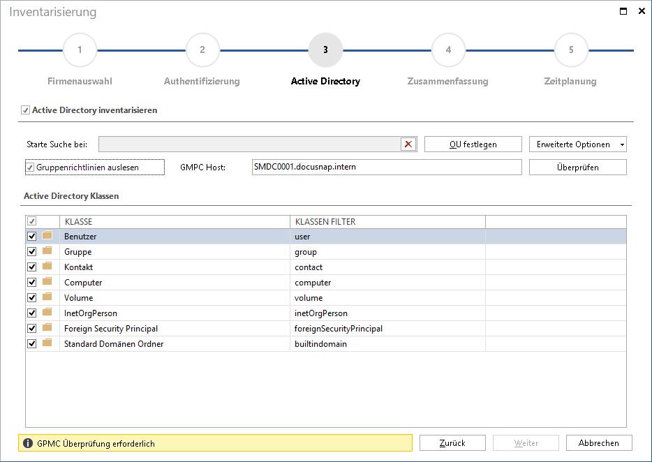 Screenhot: Active Directory Inventarisierung und Dokumentation
