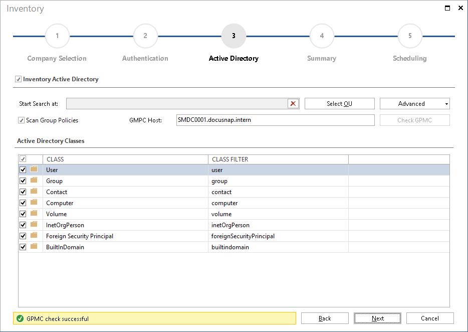 Screenshot: Active Directory Inventory