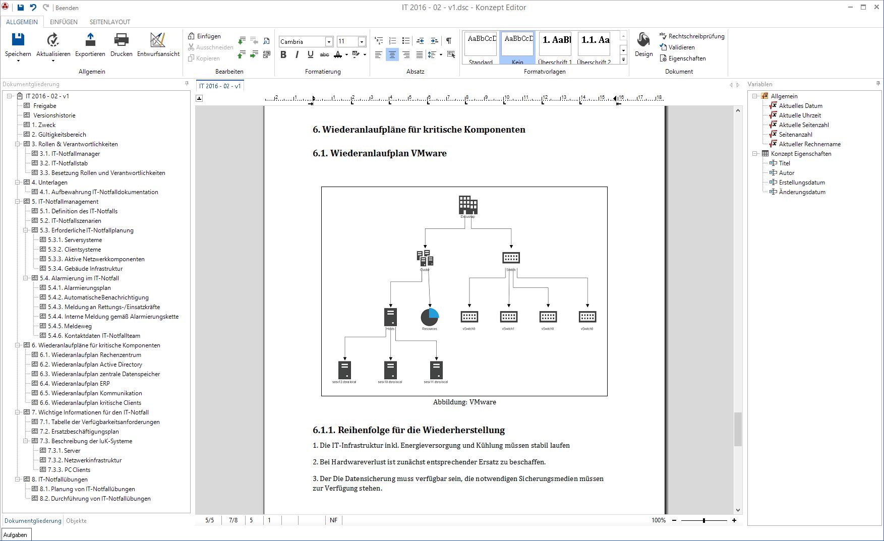 Screenshot: Wiederanlaufplan für IT-Notfälle