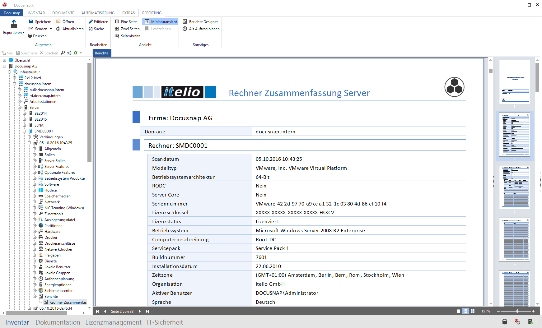 Screenshot: Berichtausgabe der Docusnap IT-Dokumentation