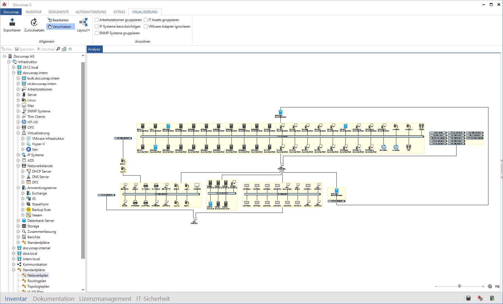 Screenshot: Visualisisierung des Netzwerkplans innerhalb der IT-Dokumentation