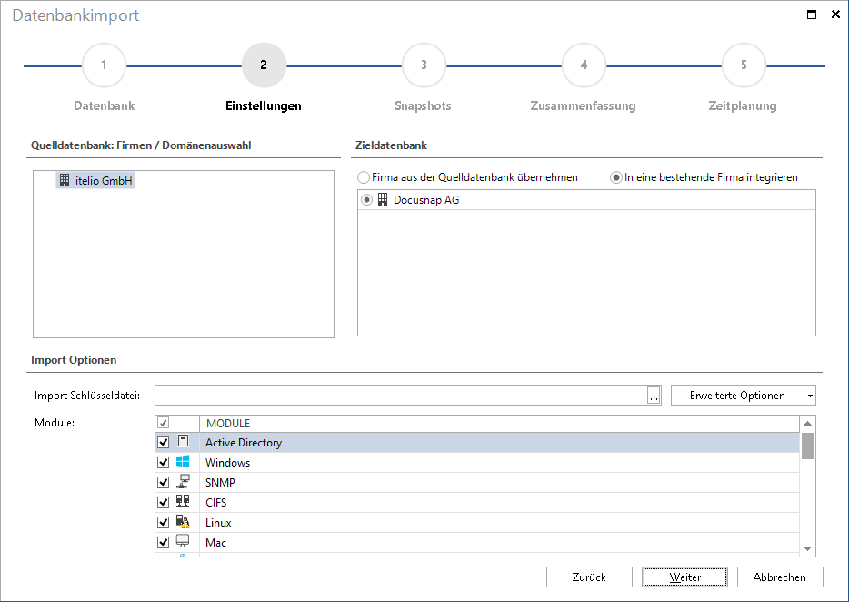 Screenshot: Datenbankimport einer IT-Inventarisierung