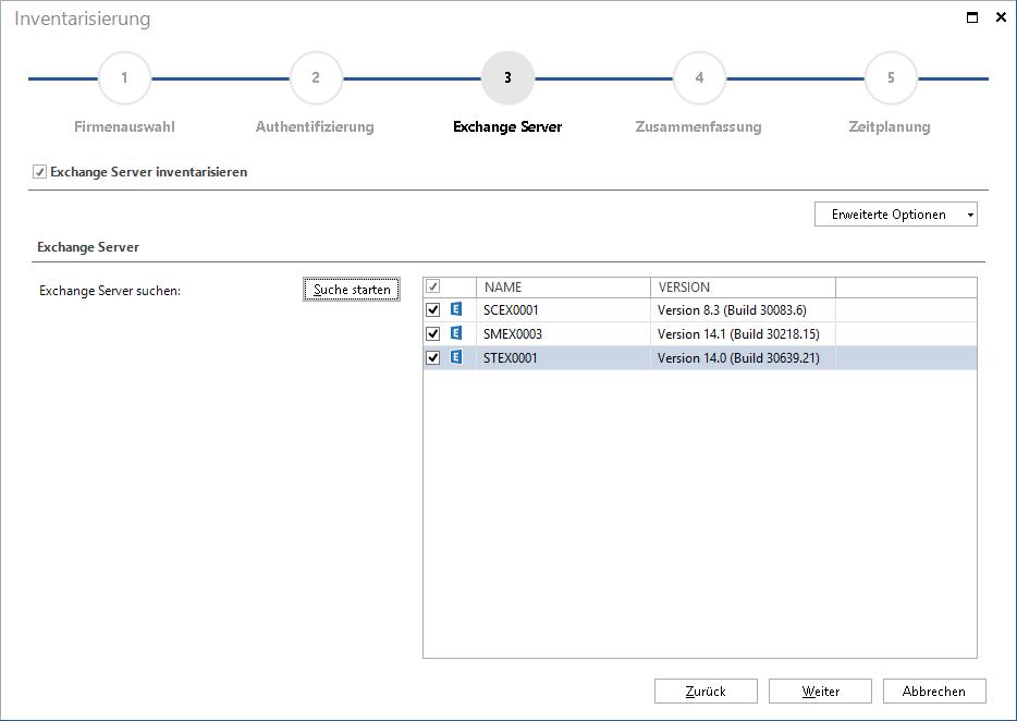 Screenshot: IT-Inventarisierung des Exchange-Servers