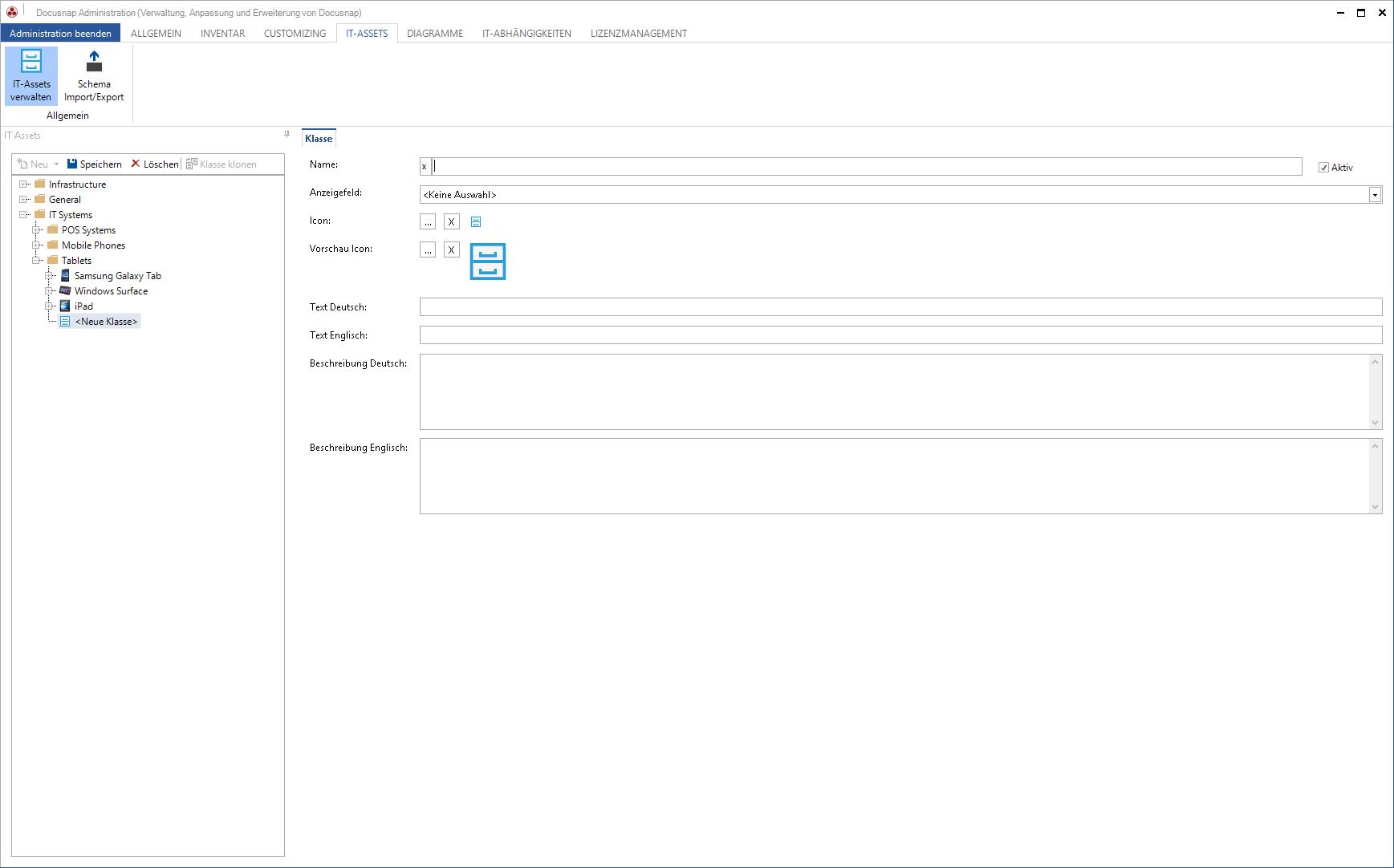 Screenshot: Verwaltung IT-Assets