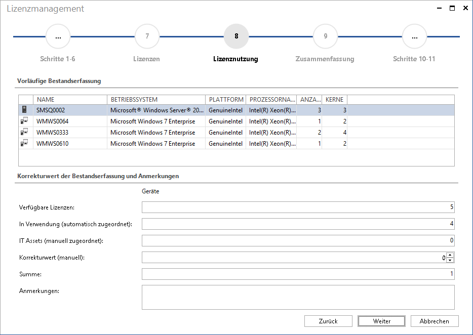 Screenshot: Bestandserfassung Software Lizenzmanagement