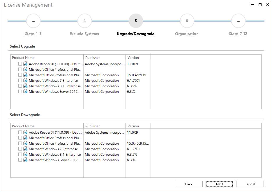 Screenshot: License Management Upgrade Downgrade Path