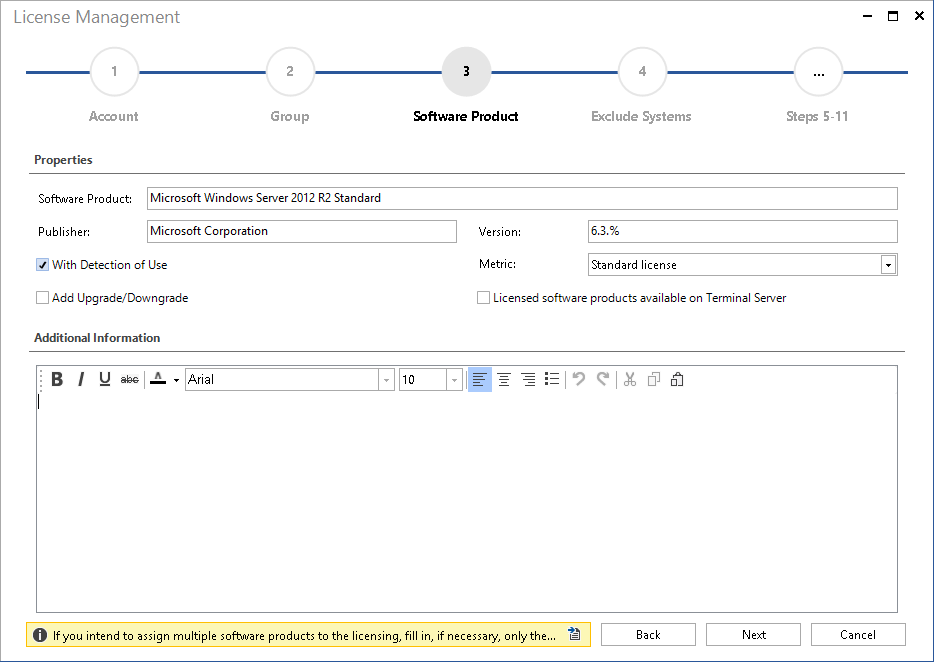 Screenshot: License Management Software Product Inventory