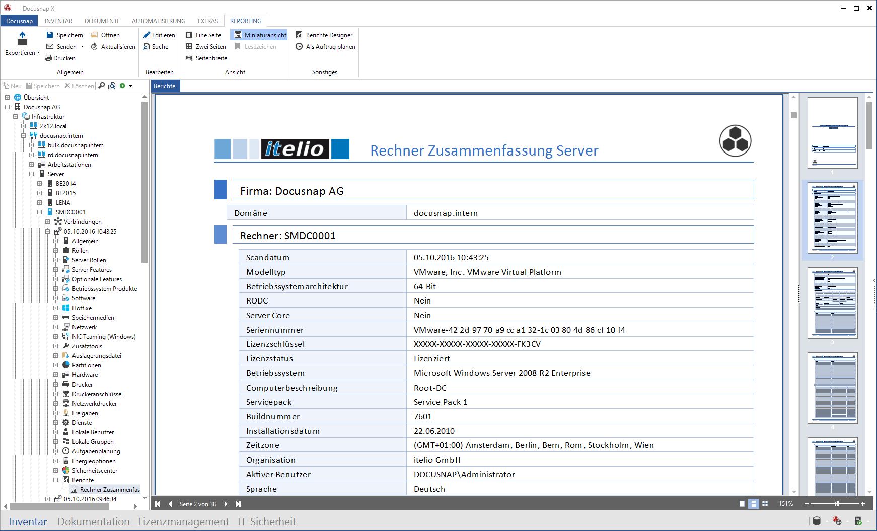 Berichtausgabe der Docusnap Netzwerk Dokumentation
