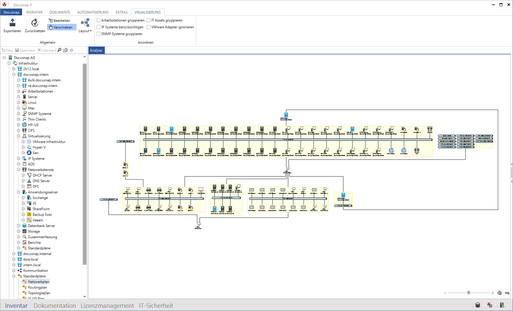 Visualisierung des Netzwerk Plans innerhalb der IT Dokumentation
