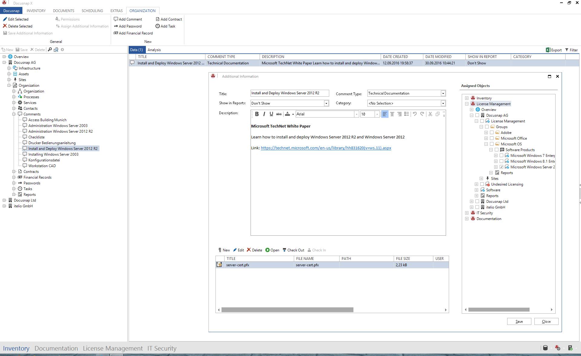 Screenshot: File attachments