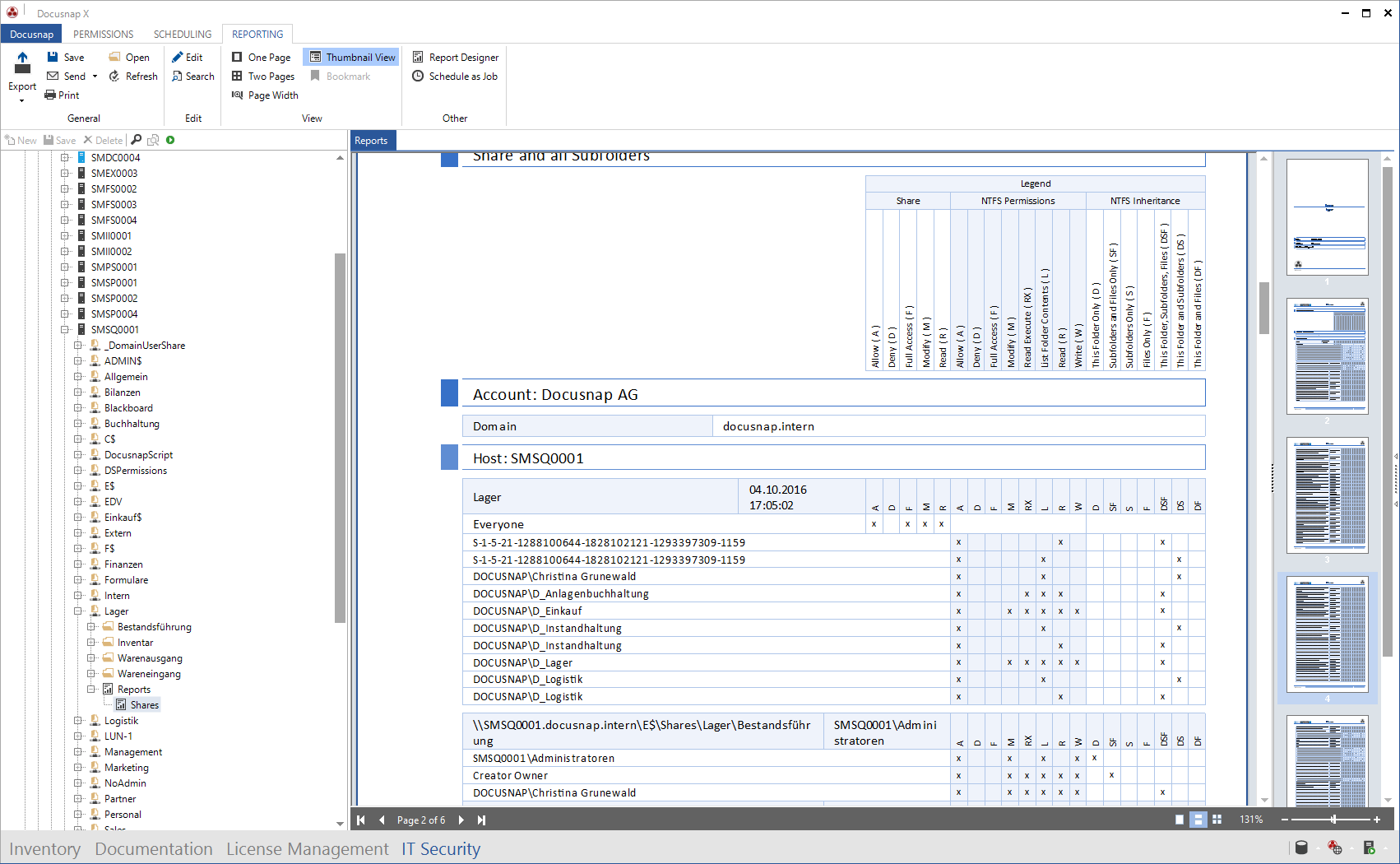 Screenshot: Permission Analysis Report